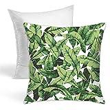 Funda de cojín con diseño de hojas de palmera tropicales, color verde, para sofá, dormitorio, sala de estar, almohada decorativa
