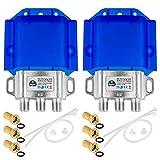2 interruttori HQ DiseqC 2/1 con alloggiamento di protezione dalle intemperie HB-DIGITAL 2 X SAT LNB 1 X partecipazione/ricevitore per Full HDTV 3D 4K UHD + 6 X connettori F dorati