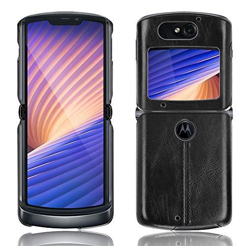 SPAK Motorola Razr 5G 2020 Hülle,Weicher TPU Rahmen + PU-Leder Harte Rückseitige Schutzhülle für Motorola Razr 5G 2020 (Schwarz)