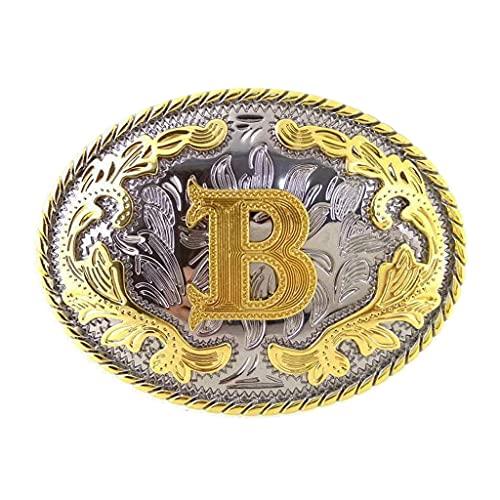 YUTRD yutpd Letra Inicial B Cinturón de Metal Hebilla Arabesca Occidental Cowboy Cowgirl Jeans Accesorios (Color : A, Size : 3.93 x 3.14 Inch)