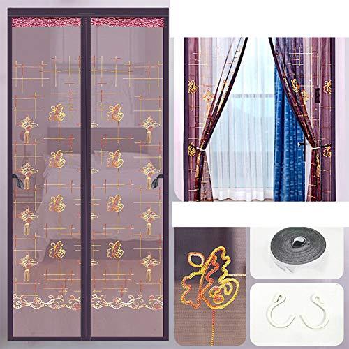 Magnetische Scherm Deur voor glazen schuifdeuren/openslaande deuren, Wordt geleverd met klittenband en haak, kan automatisch worden gesloten,B,150x240cm