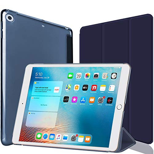IPad 9.7 Case 2018 iPad 6th Generation Case/2017 iPad 5th Generation Case- Slim Lightweight Smart Shell Stand Cover with Translucent Frosted Back Protector Fit Apple iPad 9.7 Inch (Blue)