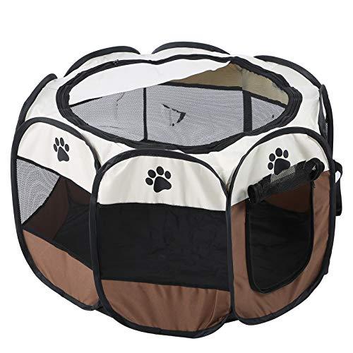 Tienda de juegos para animales domésticos, plegable para perros, portátil y plegable, para cachorros, de tela para uso en interiores y exteriores, 68 x 45 cm (color café)