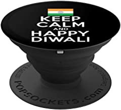 Keep Calm And Happy Diwali India Flag Hindu Festival Holiday PopSockets Grip and Stand for Phones and Tablets