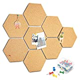 HENMI - Tablón de corcho autoadhesivo, 8 unidades, decoración de pared, placa de corcho redonda multifuncional, con bordes ondulados para colgar fotos, análogos de patrones, color Hexágono.