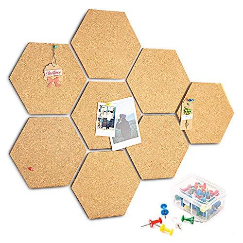 HENMI - 8 tablones corcho autoadhesivos DIY, uso multifuncional