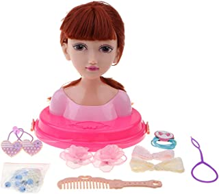 MagiDeal Fashion Hair Styling Dolls Head Play Set Kids Childs Toy Beauty Girl Gift - Dark Brown, as described