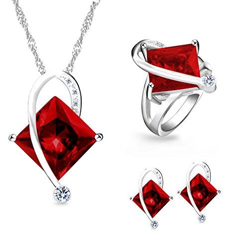 Uloveido Frauen Platin beschichtet erstellt Platz Rubin Anhänger Halskette Clip auf Ohrringe Halo Ringe Hochzeit Schmuck-Set (rot, Größe 49) T295