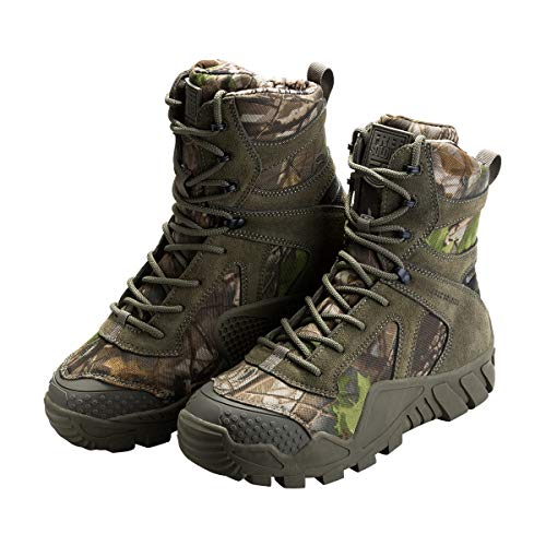 FREE SOLDIER Outdoor Men's Tactical Military Boots Suede Leather Work Boots Combat Hunting Boots (8.5 M US, Camouflage-Upgrade)