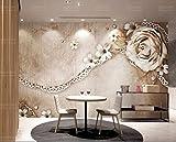 Mbwlkj Tapete Für Wände 3D Luxurious Vintage Rose Lace Einfache Amerikanische Fototapete Tapete Tv Hintergrund Wand-350cmx245cm