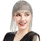 ArtiDeco Diadema para mujer de los años 20, Gatsby, cadena para danza del vientre, exótica, Cleopatra, accesorio para disfraz de los años 20, flapper flapper plata Talla única