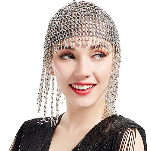 ArtiDeco 1920s Stirnband Damen Gatsby Haar Kette Exotisch Cleopatra Kostüm Accessoires 20er Jahre Flapper Blinkendes Haarband (Silber)
