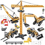 Geyiie Construction Truck Vehicles Toy Kids, Engineering Playset Toys Alloy Metal Die cast Trucks, Digger,...