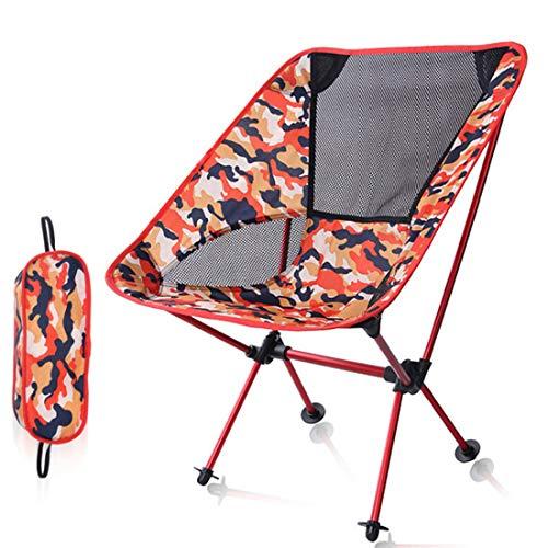 Unbekannt Oreiller de Couchage d'extérieur Pliable Pliable Pliable - Lumière de pêche - Chaise de Plage - Alliage d'aluminium - Dossier réglable Orange