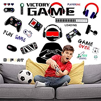 ROLEES 4 Sheets Game Wall Decals,DIY Cartoon Video Game Wall Stickers,Boys Kids Men Room Decorations,Removable Gaming Wall Stickers for Bedroom Living Room Decoration