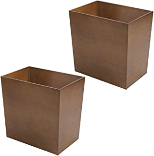 mDesign Rectangular Narrow Wood Trash Can Wastebasket, Small Garbage Container Bin for Bathrooms, Kitchens, Home Offices, Craft Rooms, Bamboo Veneer, 2 Pack - Brown