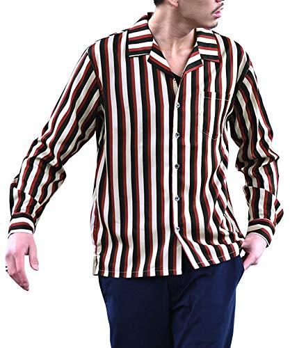 ジョーカーセレクト(JOKER Select) 長袖シャツ オープンカラー 開襟シャツ 柄シャツ メンズ オープンシャツ L ベージュ太ストライプ(05)