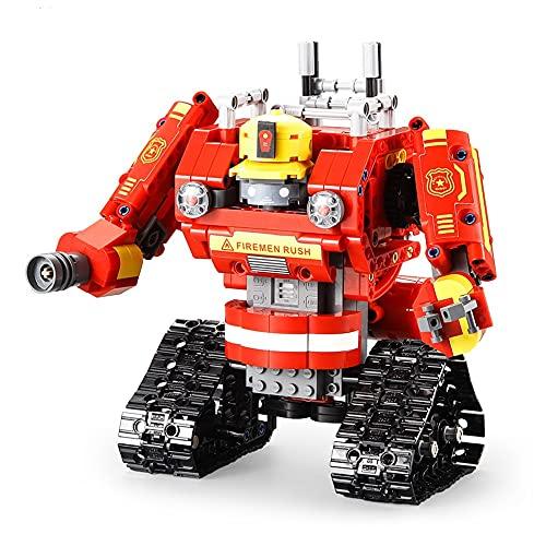 Toy Block de control remoto - 538pcs 2-en 1 Bloque de construcción Juguetes para robot de lucha contra incendios: con control remoto de juguetes de bloques de construcción para 6 7 8 9 10 11 12 13 niñ