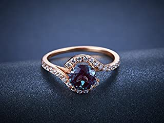 Unique Alexandrite Engagement Ring Sterling Silver 6.5mm Round Cut Color Changing Gemstone Bridal Promise Ring Rose Gold Plated