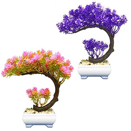 AIVORIUY 2pcs Bonsai Artificial Árbol Plantas Falsas, Plantas Artificiales en Macetas Bonsai de Pino Japonés para Decoración de Hogar Pantalla de Escritorio Mesa Casa Oficina Balcón Ventana Salón