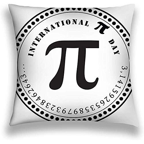 mallcentral-EU Funda de Almohada de Tiro, diseño Moderno Simple, Día Internacional del pi Número matemático Constante Sello Impresión Día Internacional del pi