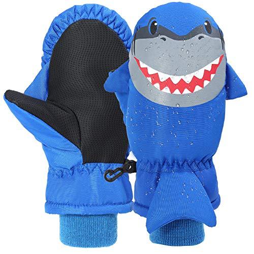7-Mi Guanti da Sci Invernali Resistenti all'Acqua per Bambini Guanti Caldi per Sport all'Aria Aperta, Guanto di squalo Invernale in Nylon Antivento per Ragazze 3-6Y