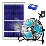 EFGSbed Mini Ventilador USB, Ventilador Grande de 8 W con Panel Solar con Viento Fuerte de 12 Engranajes, Batería de 5000 mah, Distancia de Soplado es de Aproximadamente 10 m