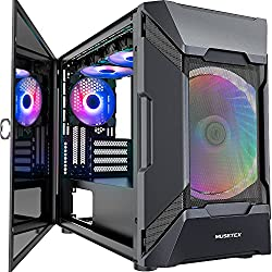 MUSETEX MESH Micro ATX Tower 3 PCS 120MM ARGB Fans + 1x 200MM ARGB Fan Pre-Installed 2 PCS × USB 3.0 Ports Opening Tempered Glass Panel & Mesh Front Panel Airflow Gaming PC Case (MK7-GN4)