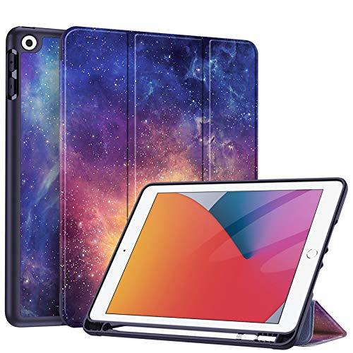 Fintie Hülle für iPad 8. Generation (2020) / 7. Gen (2019) 10.2 Zoll - Superleicht Soft TPU Rückseite Abdeckung Schutzhülle mit eingebautem Pencil Halter, Auto Sleep/Wake, Die Galaxie