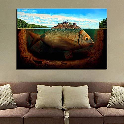 Knncch Fobia de mar profundo Imágenes de pared para sala de estar Decoración moderna para el hogar Cartel Estilo nórdico Minimalista Lienzo Arte Impresión de alta definición Pintura-50x70cm