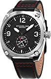 Stuhrling Original Men's Tuskegee 581 Aviator Quartz Stainless Steel Watch with Leather Strap Featuring Seconds Sub-dial (Black)