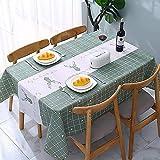 ATUIO - Tovaglia Impermeabile, Tovaglia per Tavoli Rettangolari [137 x 178 cm], [Plastica PEVA Ecologica], Tovaglia Riutilizzabile per Sala da Pranzo, Cucina, [Verde]