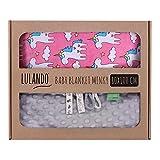Lulando M00011506 Babydecke Kuscheldecke Krabbeldecke aus 100% Baumwolle Super weich und flauschig. Kuschelige Lieblingsdecke für Ihr Baby, 80x100 cm, Grey - Pink Unicorn