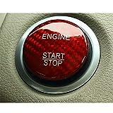 M.JVisun Fibra de Carbono Motor Arranque Paro Botón Pegatinas para Mercedes-Benz A Clase B Clase C Clase AMG GLA GLC ML W205 X253 - Rojo
