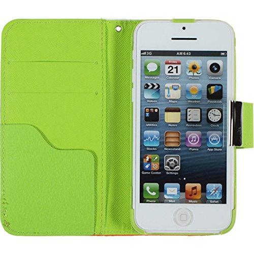 PhoneNatic Copertura di Cuoio Artificiale Compatibile con Apple iPhone 5c - Wallet Design:05 - Cover + Pellicola Protettiva