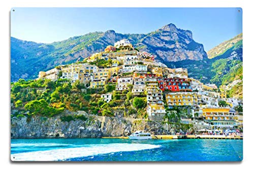 Lantern Press View of The Colorful Positano Village Along Amalfi Coast in Italy in Summer 9017918 (6x9 Aluminum Wall Sign, Wall Decor Ready to Hang)