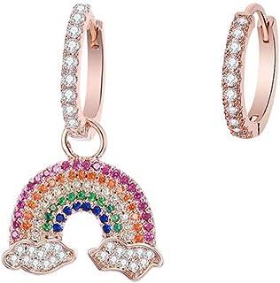 Orecchini a cerchio da donna, ipoallergenici, placcati in argento, a pendente, in oro rosa, con zirconi brillanti, idea re...