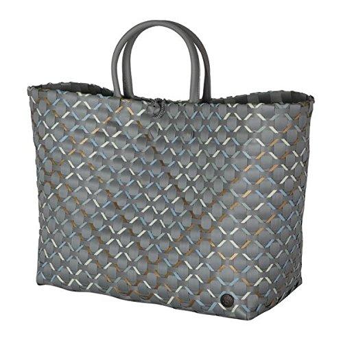 Handed By - Glamour Shopper/boodschappenmand/boodschappentas/gevlochten mand - grijs - L - 32 x 38 x 20 cm