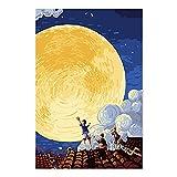DIY「Mid-autumn festival moon」Pintar por números para adultos Niños Kits de pintura digital por números El mejor juego para padres e hijos Sin marco -40x50cm