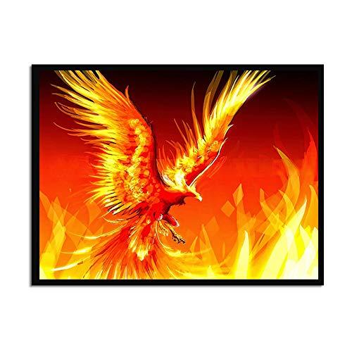 Liluozsh kunstdruk op canvas, cartoon dierenschilderij flaming fenix HD Wall Art schilderijen voor woonkamer Home decoratie kunstprints 60×90cm Zoals getoond
