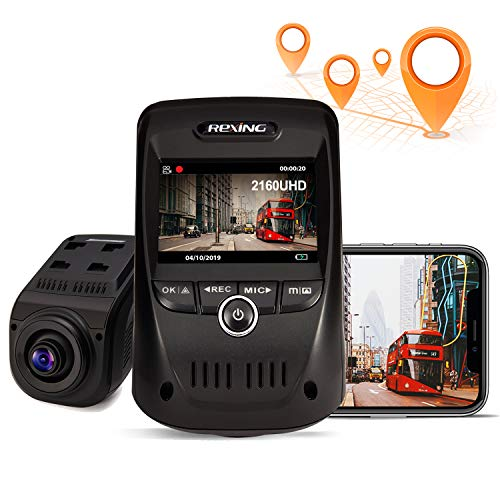 REXING V1 MAX 4K Solo Dash Cam 3840X2160@30fps UHD WiFi GPS Car Dash Camera w/Night Vision, Supercapacitor,170° Wide Angle, Mobile App, Loop Recording, G-Sensor, Parking Monitor, Support up to 256GB