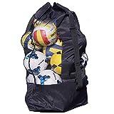 QCHOMEE Durable Sac à Ballon Sacoche en Maille Filet Grand Sac Transport pour Basketball Volleyball Football Sac de Bandoulière Rangement Equipements avec Cordon Serrage pour 10-15 Balles