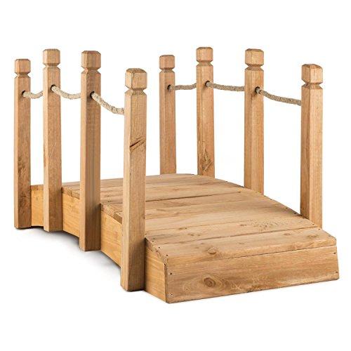 blumfeldt Rialto - Ponte da Giardino, Decorazione Legno Massiccio, 58 x 58 x 122 cm, Corda Corrimano, Resistente agli Agenti Atmosferici, Legno Rossastro