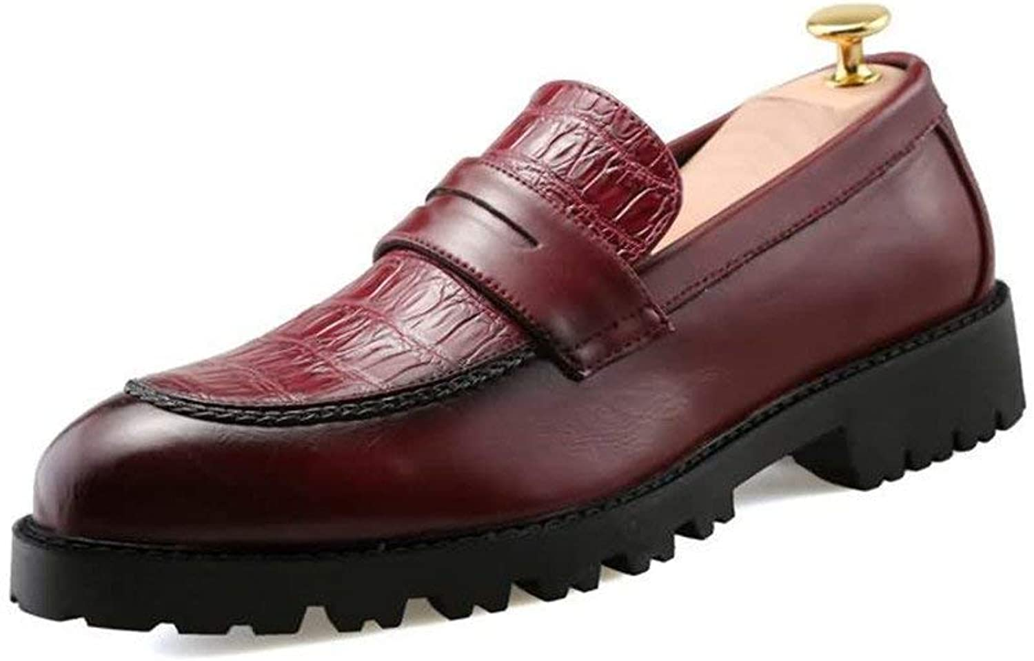 2018 Mens Oxfords Flat Heel PU Leather Slip on Formal shoes (color  Red, Size  40 EU) (color   Red, Size   43 EU)