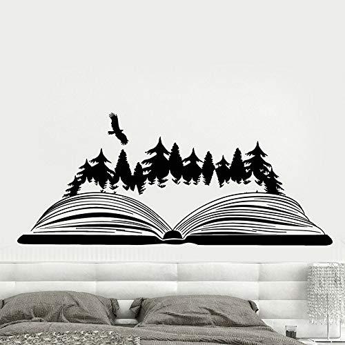 Libro abierto etiqueta de la pared bosque mágico pájaro naturaleza paisaje vinilo etiqueta de la ventana biblioteca sala de lectura librería decoración de interiores
