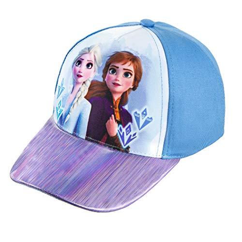 Disney Frozen 2 Girls Elsa and Anna Cotton Baseball Cap - Holographic PU Fabric Brim Blue, Medium