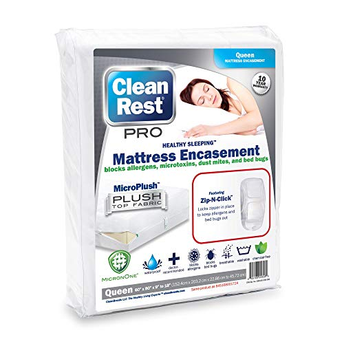 """CleanRest Pro Waterproof, Allergy and Bed Bug Blocking Mattress Encasement - (Fits 9"""" to 18"""" H) Queen"""