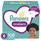 Diapers, Pampers Cruisers Disposable Baby Diapers, ONE MONTH SUPPLY, Size 6, 108 Count(Packaging May Vary)