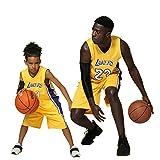 Niños Chico Chicas Hombres Adulto NBA Lebron James #23 LBJ LA Lakers Retro Pantalones cortos y camisetas de baloncesto Basketball Jersey Uniformes Top&Shorts 1 Set (Amarillo (Yellow), 2XL (Niños))