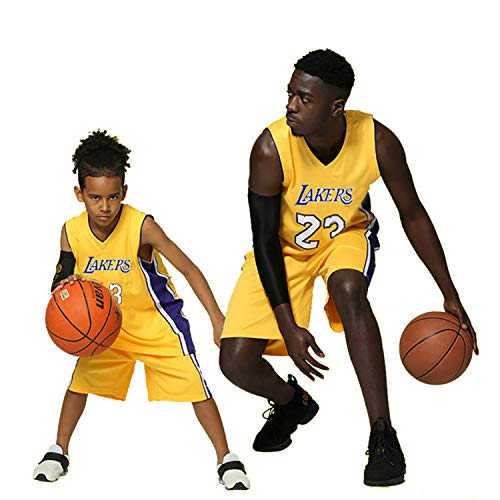 Kinder Jungen Mädchen Herren Erwachsene NBA Lebron James # 23 LBJ LA Lakers Retro Basketball Trikot Sommeranzüge Jersey Kits Top + Shorts 1 Set (Gelb (Yellow), XL (Kids))